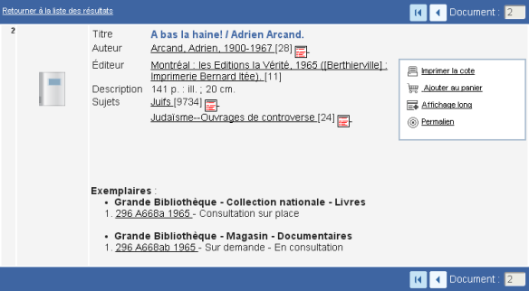 A bas la haine - Adrien Arcand in the catalog of the Quebec Archives.