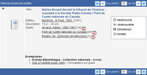 Scandale in the catalogue of the Quebec Archives
