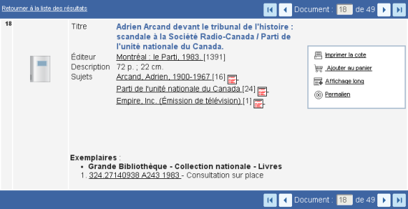 <i>Scandale</i> in the catalogue of the Quebec Archives