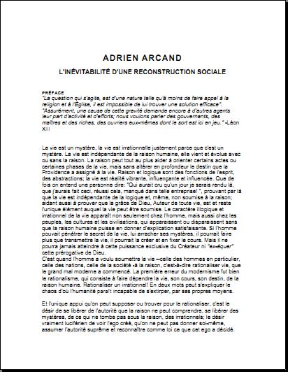 L'inévitabilité d'une Reconstruction Sociale, Adrien Arcand (1967)