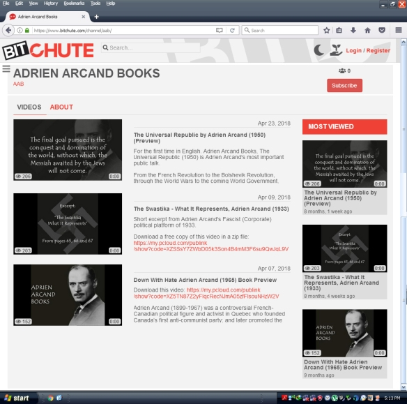 Bitchute - Adrien Arcand Books (BAnQ) A Quebec Heritage Site