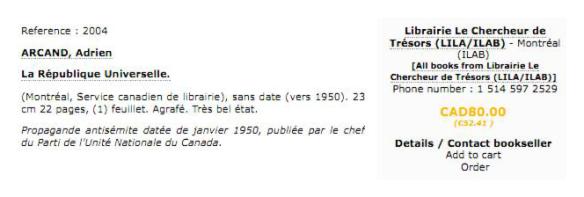 <i>La République Universelle</i>, annonce mise en vente en ligne par Librairie le Chercheur de Trésors (80,00$)