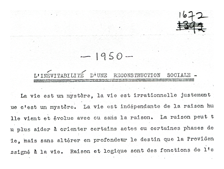 <i>Inévitabilité</i>, brouillon (draft) 1950.  Special Collections, Adrien Arcand Collection