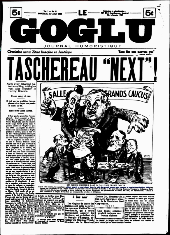 Headline: Taschereau Next!  Scenes of hysteria in the Grand Caucus Hall