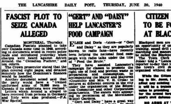 Lancashire Evening Post - Thursday 20 June 1940 - Fascist Plot to Seize Canada Alleged