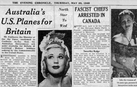 Newcastle Evening Chronicle - Thursday 30 May 1940 - Fascist Chiefs Arrested in Canada