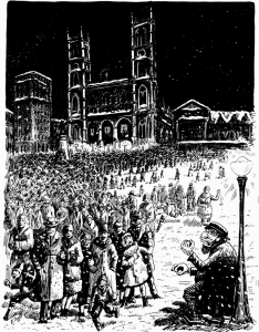 Coming out of Midnight Mass, December 1930
