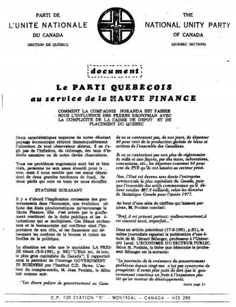 <i>Le Parti Québécois au service de la Haute Finance</i> by Nicolas de L'Isle (NUPC)
