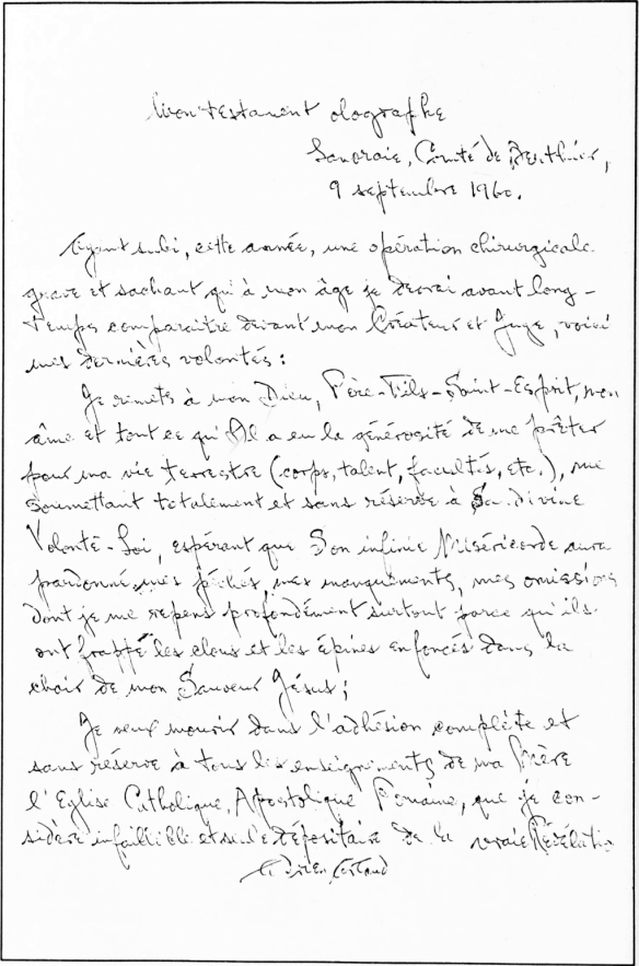 Last Will and Testament of Adrien Arcand, 9 September 1960