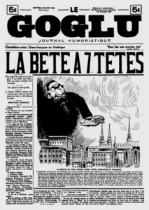 """The 7-headed beast"" front page of the <i>Goglu</i> 29 August 1930"