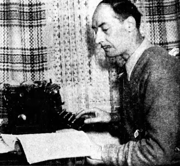 Adrien Arcand at his typewriter in Lanoraie, February 1947