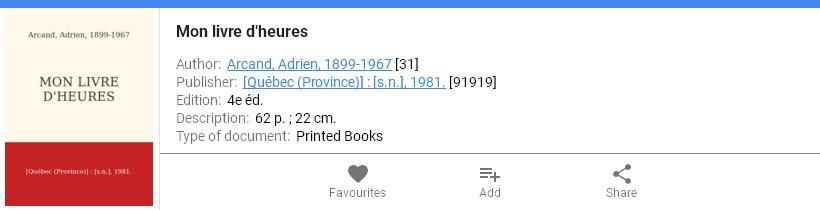 Mon Livre d'Heures, Catalog BAnQ